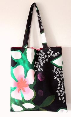 Flower japan style tote shopping bag by missnouvellevague on Etsy