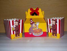 Curious George Favor Box  Popcorn Box  Curious by PishPoshPartique