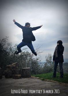 Elena & Paolo16marzo2013 jump For Forestaria Organic Farm in Lucca Tuscany