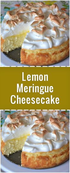 """Love lemon meringue pie and cheesecake? Well this is the best of both worlds. - ""Love lemon meringue pie and cheesecake? Well this is the best of both worlds. Great any time of - Lemon Desserts, Köstliche Desserts, Lemon Recipes, Pie Recipes, Recipes Dinner, Crockpot Recipes, Healthy Recipes, Meringue Desserts, Meatloaf Recipes"