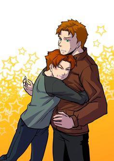 Bart Allen/Impulse hugging Wally West/Kid Flash