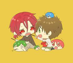 Pocky ...  From memeo1105 ...   Free! - Iwatobi Swim Club, squishy bean, free!, iwatobi, makoto tachibana, makoto, tachibana, rin, rin matsuoka, matsuoka