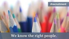 A creative video template for a job vacancy post. 'We know the right people.' A background video of colourful pencils.