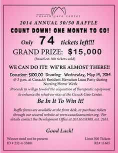 Cusack Care Center is in full swing of its Annual 50/50 Raffle!  300 tickets must be sold for the winner to receive a cash prize of $15,000 (based on 300 tickets sold)! Visit our website at cusackcarecenter.org to purchase your tickets!  Go in with your friends and/or family!  Proceeds to benefit the acquisition of therapeutic equipment to enhance rehab services at the Center! Help us reach our goal!