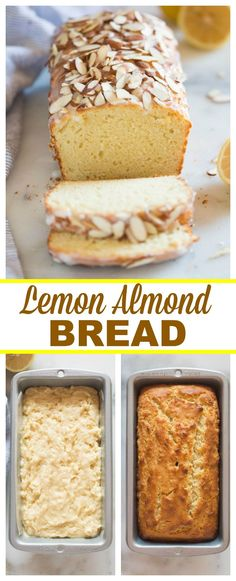 4 Points About Vintage And Standard Elizabethan Cooking Recipes! Lemon Almond Bread Is A Delicious And Easy Quick Bread With Hints Of Lemon And Almond Flavor, Topped With A Sweet Glaze And Sliced Almonds. Via Betrfromscratch Quick Bread Recipes, Best Dessert Recipes, Fun Desserts, Coffee Recipes, Recipes Dinner, Healthy Desserts, Holiday Recipes, Almond Bread, Bakery Recipes