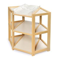 Zoomie Kids Carner Diaper Corner Baby Changing Table with Pad & Reviews   Wayfair Corner Changing Tables, Baby Changing Table, Changing Pad, Ab Workout At Home, Mattress Pad, Display Shelves, Storage Shelves, Badger, Storage Spaces