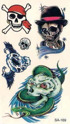 Assorted Skull Temporary Tattoos by Temporary Tattoos. $5.49. Easy to apply, easy to remove You can use different designs to go with any occasion or outfit. They do not leave any permanent marks like the real thing, so you have the option to change looks regularly! They are completely safe. Try some on and see what happens... you never know!!  How to apply:  1.Cut out tattoo of choice and remove clear sheet.  2. Place tattoo face down on skin  3. Wet the tatto...