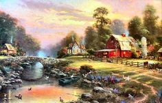 Sunset Paintings by Famous Artists | Thomas Kinkade - Thomas Kinkade Sunset at Riverbend Farm Painting