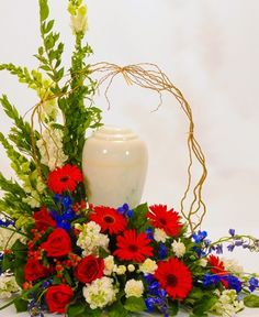 Funeral Flower Arrangements for Urns patriotic   Patriotic Cremation Urn