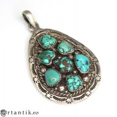 opulenta amuleta Navajo - argint si turcoaze naturale - Statele Unite