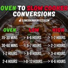 Super handy chart for converting between the oven and the slow cooker!