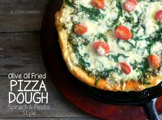Joyously Domestic | Olive Oil Fried Pizza Dough - Spinach and Pesto Style