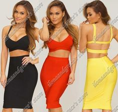Find More Dresses Information about Free shipping! 2014 Exclusive Sexy Bodycon Over knee Two pieces Bandage Dress,High Quality dress materials for sale,China dress me prom dresses Suppliers, Cheap dress hourglass from Ilonaandgrace'  store on Aliexpress.com