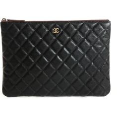 CHANEL Caviar Quilted Medium Cosmetic Case Black ❤ liked on Polyvore featuring beauty products, beauty accessories, bags & cases, make up bag, dopp bag, chanel, makeup purse and cosmetic bags & cases