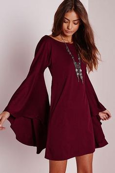 Vintage Autumn Womens Vestidos Dresses Woman Winter Robe Hiver 2015 Red Fall Long Sleeve Maxi Fashion Plus Size Clothing Fall Dresses, Short Dresses, Dress Long, Mini Dresses, Plus Size Dresses, Plus Size Outfits, Bell Sleeve Blouse, Sleeved Dress, Dress With Bell Sleeves