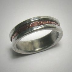 Unisex wedding band  Rustic customized copper and by DougDesigns