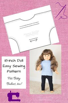Easy And Free 18 Inch Doll Printable Shirt Pattern Tutorial and free 18 inch doll printable shirt pattern that is so simple even kids can sew it! Fits American Girl Dolls and other 18 inch dolls. My girls even put these shirts on their Bitty Babies! American Girl Outfits, American Doll Clothes, American Girls, Doll Patterns Free, Doll Dress Patterns, Free Pattern, Sewing Doll Clothes, Baby Doll Clothes, Sewing Dolls