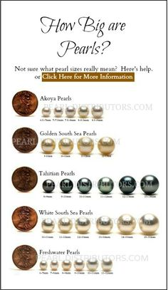 Pearl size comparison chart. #pearl size #pearls