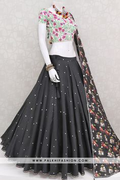 Palkhi fashion presents 12 meter full flair cotton silk black navratri lehenga with bhala work all over. Indian Fashion Dresses, Indian Gowns Dresses, Dress Indian Style, Indian Designer Outfits, Indian Outfits, Designer Dresses, Garba Dress, Navratri Dress, Lehnga Dress