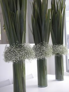New Zealand Flax (Phormium) & Gypsophilia vase arrangements / Baby's Breath Unique Centerpieces, Flower Centerpieces, Table Centerpieces, Flower Decorations, Wedding Decorations, Table Decorations, Flowers Vase, Centrepieces, Flax Flowers