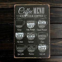 Romanti Coffee Menu Tin Sign Bar Pub Shop Home Wall Decor Retro Metal Art Poster #Unbranded