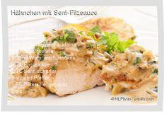 Leckeres Hähnchen mit Senf-Pilzsauce Rezept mit einfacher Schritt-für-Schritt-Anleitung: Hähnchenbrust waschen und plätten , Zwiebel würfeln, Champig...