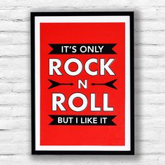 Its Only ROCK N ROLL Screen Print  Rolling by ThePrintBasement