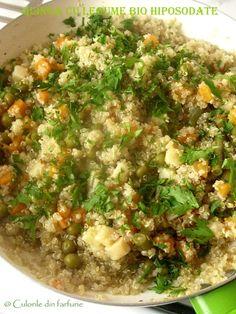 » Quinoa cu legume bio hiposodateCulorile din Farfurie Fried Rice, Quinoa, Risotto, Fries, Ethnic Recipes, Food, Garden, Garten, Essen