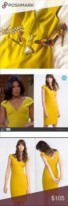 Zara mustard yellow shift dress Beautiful form fitting shift dress. Worn on television and SOLD OUT everywhere!! Zara Dresses Midi