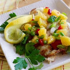 """Grilled Tilapia with Orange SalsaI """"Nice salsa, and it gave a well-deserved kick of flavor to mild tilapia."""""""