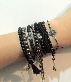 ️Kit de pulseiras preto