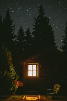 The Marcy Cabin at night under a starry sky at Mt. Van Hoevenberg Bed and Breakfast, Lake Placid NY. by Hendrickson Photography - Nothing like an Adirondack sky at night. One Room Cabins, Cabins And Cottages, Small Cottages, Log Cabins, Cabin In The Woods, Into The Woods, Little Cabin, Cozy Cabin, Bed And Breakfast
