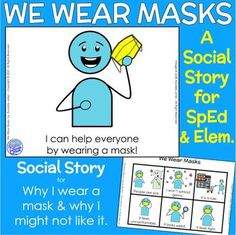face mask story We Wear Masks- A Social Story on Face Masks to ease social anxiety and learn more about why we need to wear a face mask. Perfect for SpEd, Life Skills or Early Elem. Coping Skills, Social Skills, Life Skills, Autism Education, Special Education Classroom, Future Classroom, Social Emotional Learning, Social Anxiety, Preschool Classroom
