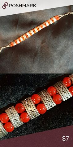 Glass and Tibetan beads bracelet Red glass beads with some black veining interspersed with silver Tibetan beads. unbranded Jewelry Bracelets