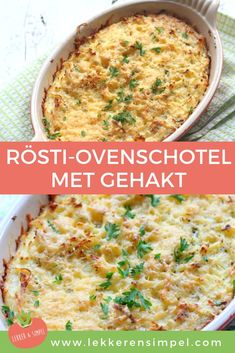 Rösti-ovenschotel met gehakt - Apocalypse Now And Then Healthy Chicken Recipes, Easy Healthy Recipes, Easy Snacks, Easy Meals, Healthy Diners, Lunch Saludable, Diner Recipes, Oven Dishes Recipes, Good Food