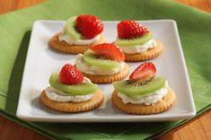 easy healthy ritz cream cheese fruit appetizer - ok, a little boring, I would add something to the cream cheese next time - fresh herbs, basil or maybe lemon zest