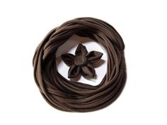 Handmade brown t-shirt yarn scarf, embellished with a removable flower brooch made from cotton fabric, which you can use everywhere else you like!