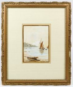 """Lot 765: Unknown Artist (20th Century) Marine Watercolor on Board; 1908, initial signed """"M.F.T."""" lower right, depicting sailboats near a mountainous coastline with a pencil sketched figure in the on-shore boat"""