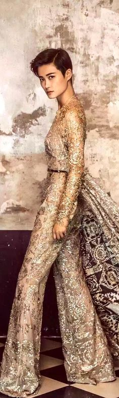 Yule style!! Noel or Christmas!! Perfect Holiday Party outfit!! Perfect Holiday Hostess Pants! Lace!! Elie Saab Couture 2018