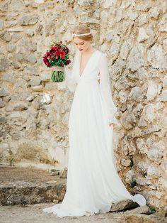 Billowy Long Sleeved Wedding Dress