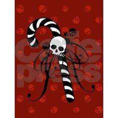 Greeting Cards (Pk of Skull Candy Cane Greeting Cards (Pk of by MissThree - CafePress Merry Christmas, Dark Christmas, Halloween Christmas, Christmas Greeting Cards, Christmas Greetings, Holiday Cards, Christmas Crafts, Deadpool Christmas, Pagan Christmas