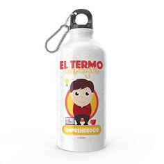 Termo - El termo del mejor emprendedor, encuentra este producto en nuestra tienda online y personalízalo con un nombre. Water Bottle, Drinks, Carton Box, Upcycling, Store, Crates, Art, Drinking, Beverages