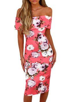 Bardot Bodycon Midi Pink Floral Dress MB61536-10 – ModeShe.com
