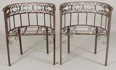 Vintage Pair Wrought Iron Garden Chairs