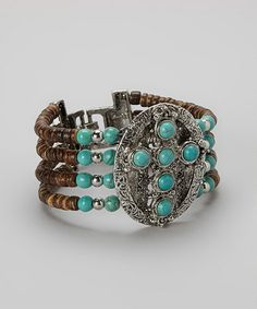 Love this Turquoise & Silver Coconut Beaded Cross Bracelet on #zulily! #zulilyfinds