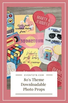 Dec 26, 2020 - It's time to get your 80s on! This set of photo props is perfect for an 80s theme party! It has a little of everything from movie quotes, to song titles, boombox, famous movie couples and more! Included in the set is: Boombox, Wax on Wax off, VHS Tape, Roller Skate, Rubick's Cube, Bodacious, Girls Just Wanna Have Fun, … Balloons And More, 80s Theme, Adult Party Games, Themes Photo, Movie Couples, Famous Movies, Dirty Dancing, Party Entertainment, Photo Booth Props