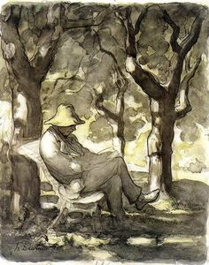 Cave to Canvas, Honoré Daumier, A Man Reading in a Garden, c....