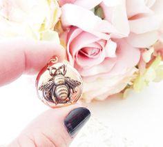 Rose Gold Plated Bee Locket  Bumble Bee Locket  Bumblebee