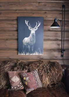 snap! Shaggy brown sheep cushions and  stag with shaggy mane - white image on black. Brown stained logs and leather - rustic