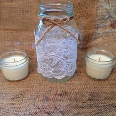 Large Ball mason jar with white lace Twine (With or without bow) Two small soy jar candles *Unscented* *Customize scent available *Bulk available